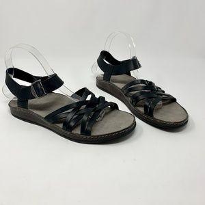 Chaco Fallon Black Leather Crisscross Sandals